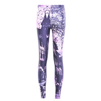 Wholesale House Leggings - 2017 NEW 3581 Halloween Skull Haunted House Purple Prints Sexy Girl Pencil Yoga Pants GYM Fitness Workout Polyester Women Leggings Plus Size