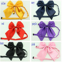 Wholesale pre tied neckties - pure color sharp bowknot Hoter Fashion Office lady Pre-Tied Silk Necktie for women or girl mix colors