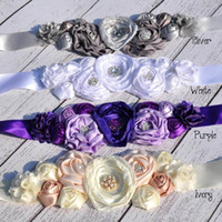 Wholesale Satin Poppy Flowers - Girl Headbands Poppy Flower Sash Satin Flower Sash Belt Luxe gravida Sash L1131