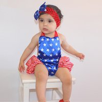 Wholesale Star Baby Dress - 2016 New American Stars A Sling Jumpsuit Stomachers Two Suit (Dress+Headband) Baby Girl Climbing Clothes Toddler Romper