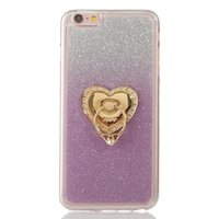 Wholesale iphone case 4s bling glitter - For Iphone8 Iphone X 8 7 PLUS 7plus I7 SE 5 5S 6 6S 4 4S Grip Stand Finger Diamond Bling Glitter Soft TPU Case Gradient Colorful Skin Cover