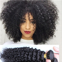 Wholesale mongolian afro kinky hair weave resale online - 7A kinky curly Hair Brazilian Malaysian Mongolian Kinky Curly Hair Extensions Afro Kinky Curly Virgin Human Hair Weave Natural Black