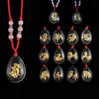 collares de transporte al por mayor-Colgantes de zodíaco de oro con incrustaciones de cristal caliente colgantes del zodiaco transporte de hombres y mujeres collar de cadena roja natal