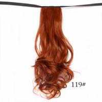 saç uzantıları kıvırcık dalga toptan satış-Toptan-Büyüleyici 20 '' Sahte Saç Kıvırcık Dalga İpli Şerit Ponytails Pony Tails At Tress Saç Uzantıları Kırmızı / Siyah Ücretsiz