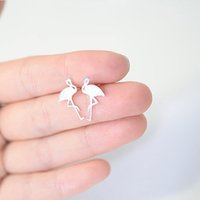 Wholesale Ear Stud Bird - New Cute Bird Ear Stud Tiny Flamingo Earrings 18K Gold Silver Rose Gold Plated Fashion Jewelry For Women Gift