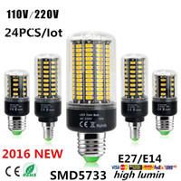 Wholesale E27 24pcs Led Corn - 24pcs 7W 12W 18W 22W 25W 35W E27 E14 GU10 G9 Led Lights Ultra Bright SMD 5733 Led Corn Lights AC 85-265V