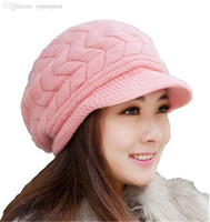 Wholesale Korean Womens Winter Hat - Wholesale-2015 New Womens Winter Warm Knitted Hat Crochet Slouchy Baggy Beanie Hat Cap Ladies Elegant Knitted Beanies Korean Style casquette