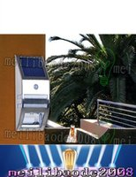 Wholesale Polycrystalline Solar Lights - Silver Solar-powered Light with 2pcs SMD LEDs Polycrystalline Solar Panel PIR Sensor for Pathway Outdoor Stair Step Garden LLFA