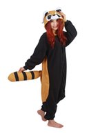 Wholesale Men Footed Pajamas - Adults Winter Flannel Cute Cartoon Animal Raccoon Raccon Kigurums Footed Pajamas Onesie Red Panda Cosplay Costume