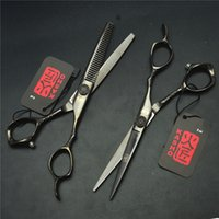 9001 # 2Pcs / Pair 6.0 '' 17.5cm Blcak Kasho Tesoura de cabeleireiro JP 440C Cutting + Thinning Shears Professional Hair Hair Scissors