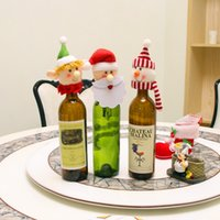 Wholesale Small Doll Hats - Christmas Red wine Cloth dolls decoration DIY Party Christmas Exquisite small Bottle decorated hat ornaments 3 style Party Supplie wholesale