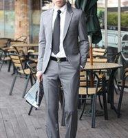 Wholesale Light Grey Suit Purple Tie - Handsome light grey custom made wedding suits for men Groom   Groomsmen Tuxedos mens wedding suits (Jacket+Pant+Tie)