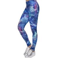Wholesale Stretch Fitness Pants Women - New Fashion Women Leggings Tropical Leaves Printing Blue Fitness Legging Sexy Silm Legins High Waist Stretch Trouser Pants
