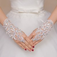 Wholesale white pearl gloves resale online - New Hot Sale Fashion White Ivory Pearl Lace Wedding Bride Bridal Gloves Ring Bracelet Wedding Accessories
