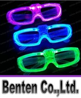Wholesale Fluorescence Christmas Lighting - New Led Cold Light Glasses EL Wire Glowing Flash Glasses Flashing Glasses Fluorescence Party Glasses DJ Party Christmas Holiday Props LLFA