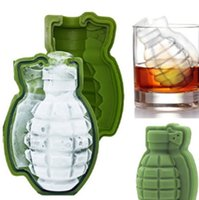 Wholesale Glass Cubes Wholesale - Grenade Shape 3D Ice Cube Mold Maker Bar Party Silicone Trays Mold Tool Gift Free Shipping