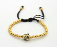 Wholesale Wholesale Macrame Jewelry - 2016 4mm Copper Beads weaving Gold and Silver Color Laughing Buddha Head Jewelry Braiding Macrame Bracelets