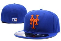 Wholesale Sell Spring Letter - 2016 new style hot selling New York Mets Fitted Caps Letter Embroidery Baseball Cap Flat-brim Mets Hat Team Size Baseball Caps free shipping