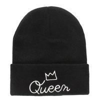chapeaux de crâne achat en gros de-Vente en gros Nouveaux hommes Femmes Crâne Cap King Queen Automne Chapeaux d'hiver Chaude Mode Knitted Beanie Lovers Stylish Hiphop