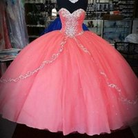 Wholesale Cheap New Years Dresses - History Coral Quinceanera Dresses 2016 New Unique Cheap Quinceanera Gowns Ruffles Layers Tulle Sweetheart For 15 Years Party Ball Gowns