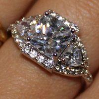Wholesale womens gold wedding rings - Handmade Womens Eternity Don't Tarnish White Topaz Wedding Band Ring Size 5 6 7 8 9 10