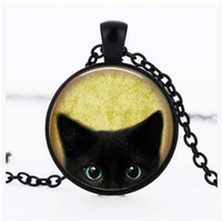 Black Cat Glass Pendants chaîne Rétro chat noir Collier long pull chaîne de chat noir Photo Pendentif