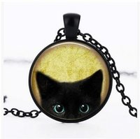 Wholesale Black Cat Picture - Black Cat Glass Pendants Chain Retro Black Cat Necklace Long Sweater Chain Black Cat Picture Pendant