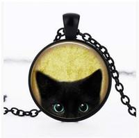 siyah cam kolye toptan satış-Siyah Kedi Cam Kolye Zinciri Retro Siyah Kedi Kolye Uzun Kazak Zinciri Siyah Kedi Resim Kolye