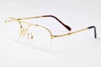 quadros de óculos brancos venda por atacado-2018 Brand Designer Retro Chifre Branco Óculos Búfalo óculos de sol sem aro metade do quadro óculos de armação de metal de prata de ouro