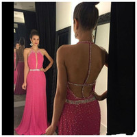 Wholesale chiffon prom dresses jewels resale online - 2016 New Fuchsia Prom Dresses Jewel Neck Keyhole Crystal Beaded Chiffon Long Sweep Train Open Back Formal Cheap Party Dress Evening Gowns