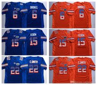 Florida Gators Arancione Blu 22 E.Smith 15 Tim Tebow 6 Jeff Driskel College Calcio Maglie Jersey Bandiera Uomo