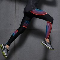 Wholesale Colorful Designed Leggings - Wholesale-2016 Novelty Men's Compression Pants Joggers Colorful Strip Design Sports Running Tights Basketball Leggings Gym Wear Trousers