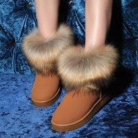 Wholesale Yellow Boots For Girls - Fashion Cow Split Leather Big Fox Fur Girls Winter Flat Short Ankle Snow Boots for Women