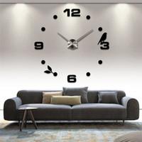 Wholesale Clocks Black - Modern Fashion DIY Large Wall Smart Clock 3D Sticker Quartz Bird Number Clock Home Wall Decor