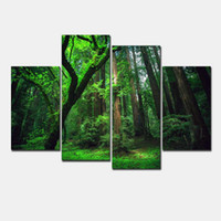 Wholesale Green Trees Wall Canvas - 4 Panel Beautiful The Forest Green Trees Large HD Picture Modern Wall Decor Canvas Print Painting oil For Home Decorate Unframed f 806