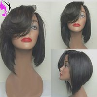 Wholesale Bangs Lace Wig Red - Cheap Sale Brazilian Straight Short Bob Wig Black Glueless Synthetic Lace Front Wig with bangs Heat Resistant For Black Women