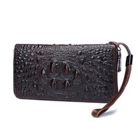 Wholesale Alligator Heads - new Hot Sale Fashion leather wallet, business head leather hand bag, long style large capacity wallet, multi-card crocodile pattern wallet