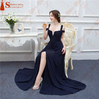 Wholesale Ocean Hunter - Bariano Ocean Navy Blue Color Chiffon Long Events Prom Dresses V neck Sexy Side Slit Cap Sleeve Prom Dresses Evening Dress