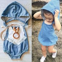 Wholesale Toddler Girls Pettiskirt Outfits - 2016 summer outfits newborn baby girl infant toddler Hooded Denim rompers pettiskirt Infant Jumpsuit summer bodysuits one piece kids romper