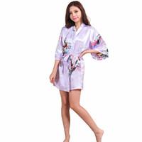 ingrosso pigiama di seta kimono-All'ingrosso-Light Purple Lady Silk Rayon Mini Robe Sexy Kimono Bath Dress Gown Summer Casual Sleepwear Pigiama S M L XL XXL XXXL NR105