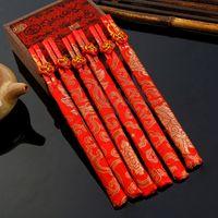 Wholesale Dragon Phoenix - 50 pairs  lot wedding chopsticks bamboo chopstick wedding favors silk pouches dragon phoenix chopsticks