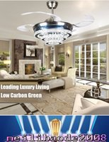 Wholesale Crystal Hanging Ceiling - European study lamp hanging Alloy high-end fashion crystal LED modern fan ceiling fans MYY