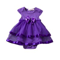 Wholesale Infant Brand Wear - INS Baby big bow TuTu Rompers One Pieces Infant Wear Kids Clothes Children Clothing 2017 Summer Jumpsuit and Romper Girl Sushine Dress