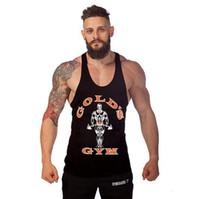 combinaisons orange achat en gros de-Débardeurs de gymnastique pour hommes Aérobic Formation Maillot de corps en coton moulant pour homme Muscle Sans manches Bodybuilding Sport Fitness Gilets
