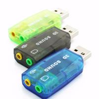 usb mikrofon dizüstü toptan satış-USB 2.0 3D Mic Hoparlör Ses Kulaklık Ses Kartı Adaptörü 5.1 PC Laptop için Yeni Varış