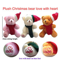 "Wholesale Love Doll Foot - 10cm(4"") Xmas Miniature Tiny Small Plush Teddy Christmas Bear Scarf Love With Heart on Foot Christmas Doll Gift Baby Shower"