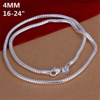 Wholesale Silver 925 Bone - High grade 4MM snake bone necklace Men sterling silver necklace STSN191, brand new fashion 925 silver Chains necklace factory direct sale