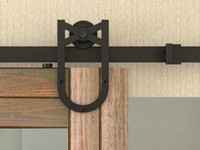 Wholesale Barn Hardware Wood Door - DIYHD 8FT-13FT horseshoe wheel double sliding barn door hardware interior wood bi-parting sliding door track kit