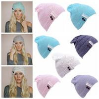Wholesale knit brimmed skull caps for sale - Group buy Women Knit Beanie Cap Ski Hip hop Lace Hat Winter Warm Baggy Wool Crochet Hat Crochet Beanie Lace brim Button Cap KKA2896