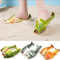Wholesale Flip Flop Bling - Creative Fish Shower Slippers Funny Beach Shoes Sandals Bling Flip Flops Summer Fish Shaped Casual Shoes 20 Pairs OOA3376